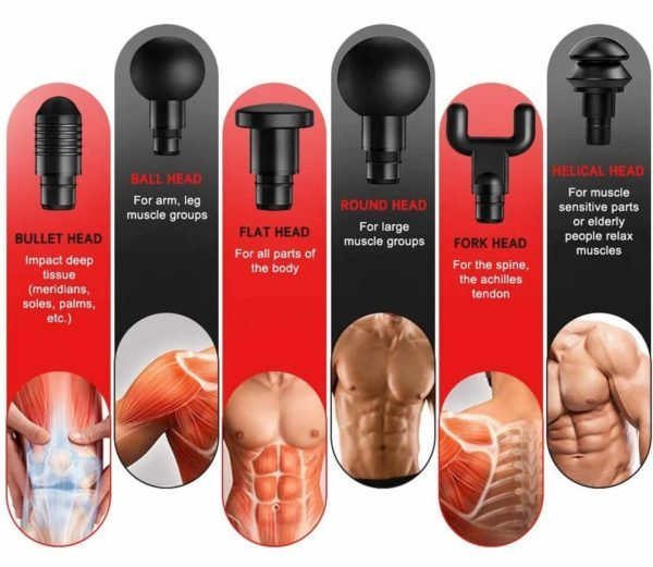 Myo Vibe Therapy System has different heads for each massage.
